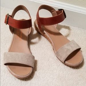 Eric Michael Leather and Suede Mini Wedge Sandals